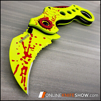Z-HUNTER YELLOW TACTICAL RESCUE KNIFE Spring Assisted Open Zombie Folding Blade