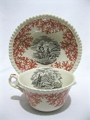COPELAND SPODE English Hunt Scene 2-Color Red & Black transfer ware cup saucer