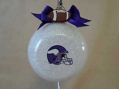 "Handmade NFL Minnesota Vikings 3"" Glass Ball Ornament, Made In The USA!, NEW!!"