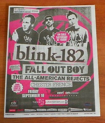~ New ~ Blink - 182 ~ Fall Out Boy ~ Concert Newspaper Poster Ad ~