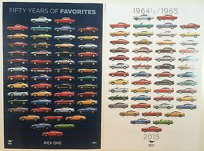 Blue & White Background 50 YEARS of MUSTANG Posters  - FREE U.S A. SHIPPING