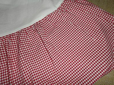 "Pottery Barn Kids Bedskirt Ruffle Crib Skirt Red Gingham Check 10.75"" Drop"