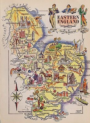 1940s Vintage Eastern England Map People Castles Mining Ships Picture Map 1747