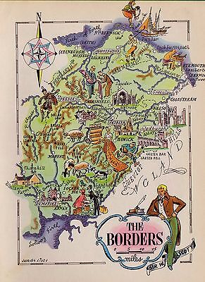 1940s Charming SCOTLAND Map Borders People Castles Mining Ships Picture Map 1749