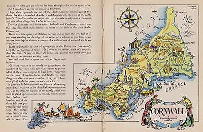 1940s Vintage CORNWALL England Map People Castle Animals FUN Picture Map 1752