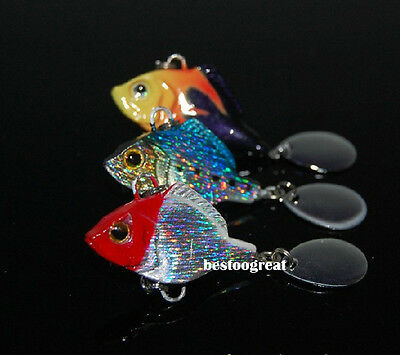 3PCS Fishing Fish Metal VIB Lure Minnow Bass Crankbaits Tackle hook 4cm 21g