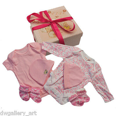 New baby girl gift box with 2 x Bluezoo Romper Suits, 2x hats & 2 pairs of socks