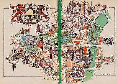 Charming LONDON England Map WESTMINSTER People Buildings FUN Picture Map 1756