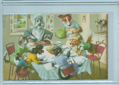 Alfred Mainzer Dressed Cats & Dogs At Dinner Postcard 4924 Belgium