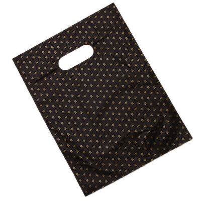 100pcs Star Printed Black Plastic Carrier Bags Packing Fit Store Packages Use BS