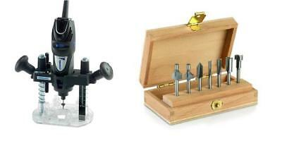 Dremel 335 Rotary Multi Tool Plunge Router Attachment + 660 Router Cutter Set