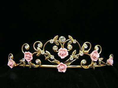 Pink Roses Bridal Rhinestones Crystal Wedding Gold Tiara 8182