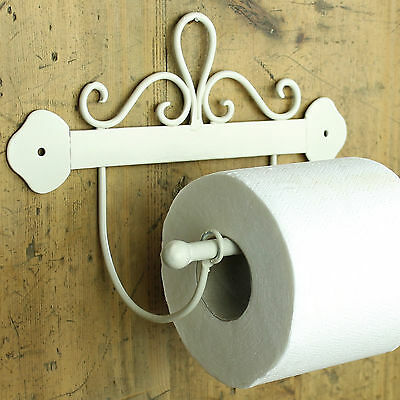 Scroll Ivory floral toilet roll holder loo shabby vintage cream bathroom