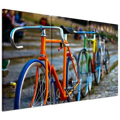 Large Colorful Bicycle Unframed HD Canvas Print Wall Art Picture Split Poster