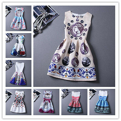 Vintage New Women Floral Print Casual Sleeveless Evening Party Mini Dress