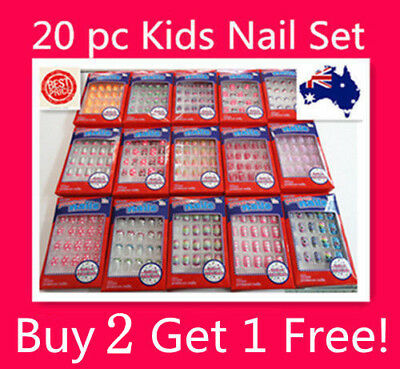 20 PC Girls Kids Acrylic False Fake Nail Tip Set With Press on Glue For Party