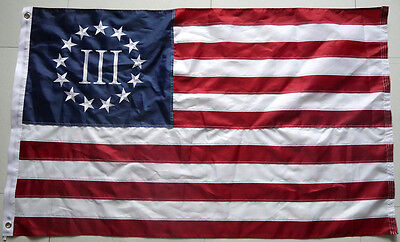 3x5 Ft Nyberg Betsy Ross Flag 3 Percent 3% Flag EMBROIDERED Nylon Threeper