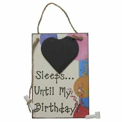 Sleeps Until My Birthday with Heart Chalk Blackboard Wall Hanging Sign