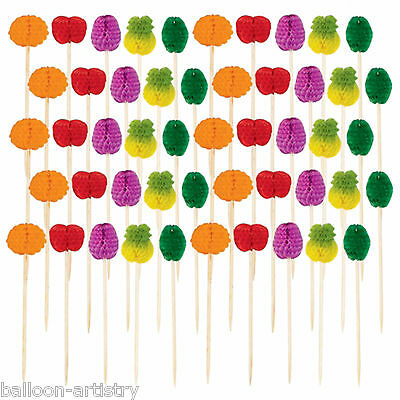 50 Tropical Hawaiian Summer BBQ Party Honeycomb Paper Fruit Snack Picks
