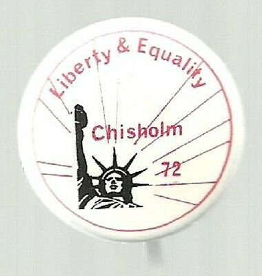 SHIRLEY CHISHOLM LIBERTY AND EQUALITY UNUSUAL STATUE OF LIBERTY POLITICAL PIN