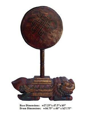 China Tibetan Vintage Wood Drum Red Gold Carving Music Instrument Statue mh268
