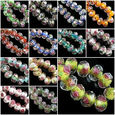12x8mm Stripe Design Glass Crystal Charms Rondelle Faceted Lampwork Loose Beads