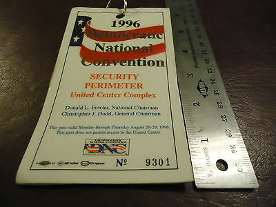 1996 Democratic National Convention Floor Security Pass 8//27 Clinton//Gore