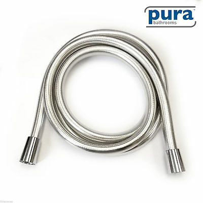 Pura Bathroom Shower Hose 2 Metre - 8mm Luxury Smooth Chrome PVC Plastic