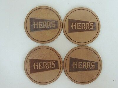 4 Vintage Herr's snack Company Leather Coasters barware Chip Pretzel advertising