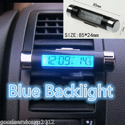 Dual Purpose Car Air Vent Clip-on LCD Blue Backlight Thermometer Clock For Honda