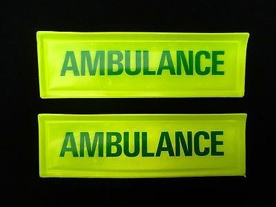 2 x Hi Vis Viz Ambulance Paramedic First Responder Sew On Chest Patch Badge A3