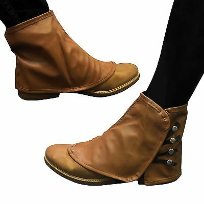 Brown Spats Steampunk Shoe Boot Covers Leather look Footwear Ankle cover Foot BN