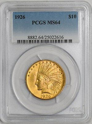 1926 $10 Gold Indian MS64 PCGS