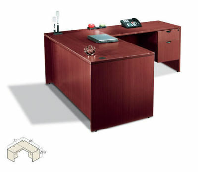 Single Pedestal Contemporary Executive Laminate L Shape Office Desk