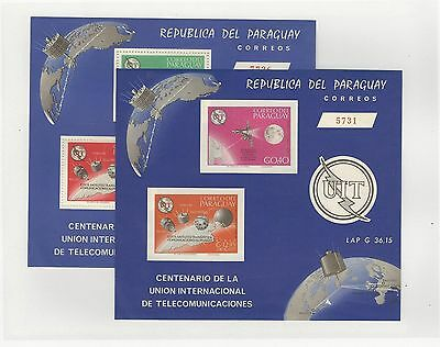 Paraguay, Postage Stamp, #900a Mint NH Sheets Perf & Imperf, 1965 Space