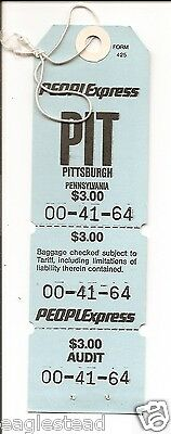 Baggage Tag - People Express - PIT - Pittsburgh - Unused Peoplexpress (BT392) -S