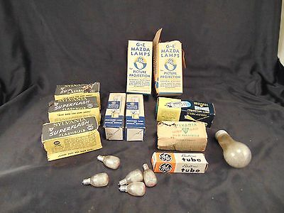 Vintage lot projector light bulbs GE Mazda Sylvania Tru Focus GE Precision Lamp