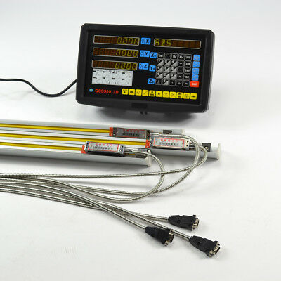 Top 3Axis Digital Readout Dro Display Console + 3 Linear Scale Travel Mill Lathe