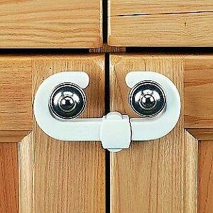 Clippasafe Cabinet Lock Pack of 2 Baby Child Safety Double Cupboard Dual Latches