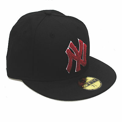 New Era 59fifty NY New York Yankees Chenille Red & Black Fitted 5950 Cap Hat