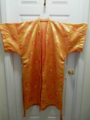 Japanese Kimono Unisex Robe with Sash Gold Satin with Red Embroidery Size L