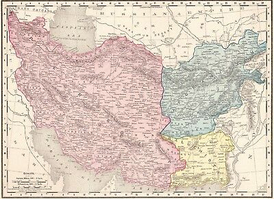 1900 Antique AFGHANISTAN IRAN Map Vintage Collectible Map Gallery Wall Art #1854