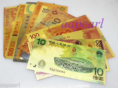 10pcs different golden china Crafts Banknotes beauty plastic Crafts paper money