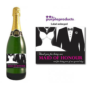 Wedding Champagne Thank You Gift Label Idea Favour, Bridesmaid, Best Man, Usher.