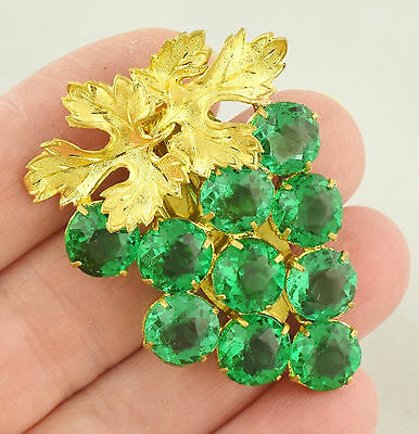Art Deco 1930s Emerald Green Pressed Glass Dress Clip Golden Leaves ~ Lot 984