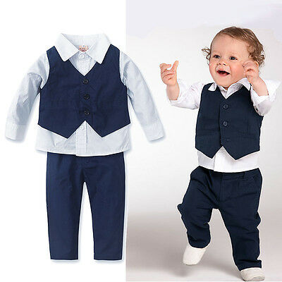 Kids Boys Long Sleeve Tops Shirt+Pants+Waistcoat 3-piece Suit Party Outfits Sets