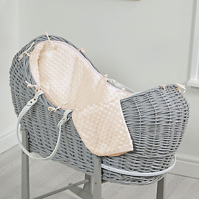New 4Baby Cream Dimple Grey Wicker Baby Moses Basket / Snooze Pod & Mattress