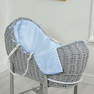 New 4Baby Blue Dimple Grey Wicker Baby Moses Basket / Snooze Pod & Mattress