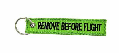 Remove before flight green keychain key ring tag luggage aircraft aviation