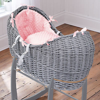 Clair De Lune Pink Dimple Grey Wicker Baby Moses Basket / Noah Pod & Mattress